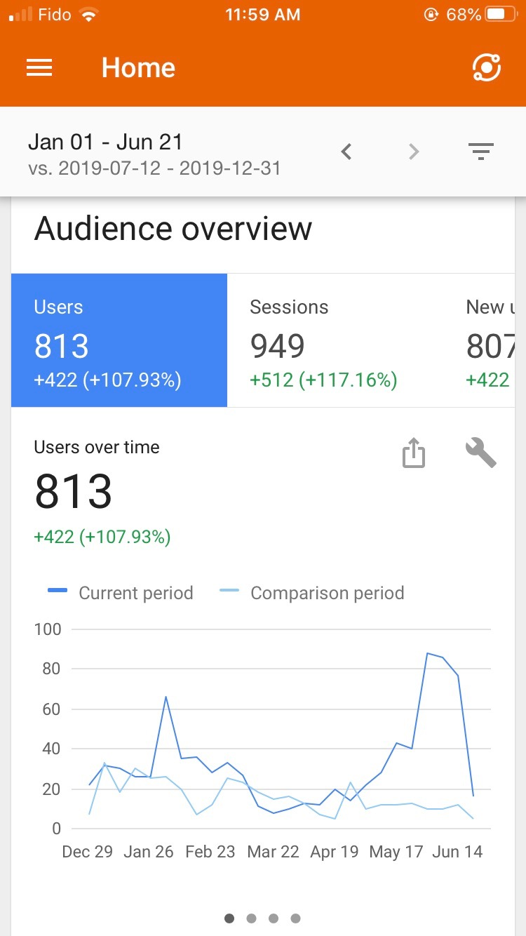 Google Analytics data for a business website